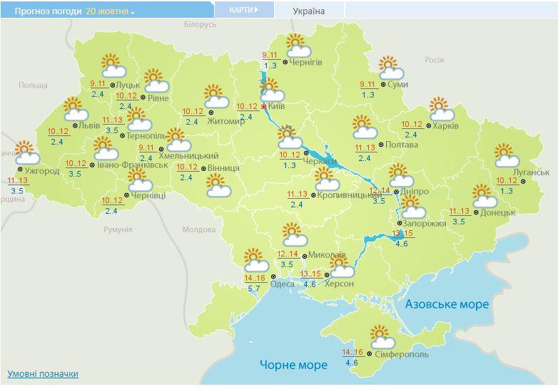 В Украине ясный, но холодный день: прогноз погоды
