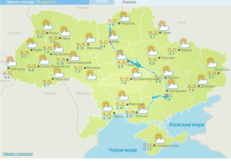 Тепло і сухо: прогноз погоди на сьогодні