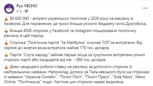 Местные выборы в Украине: сколько политики потратили на рекламу в Facebook