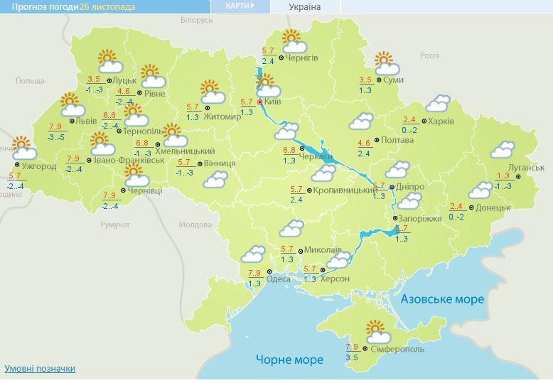 До 9 тепла, але похмуро: прогноз погоди на сьогодні