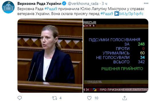 Рада назначила нового министра по делам ветеранов: что о ней известно
