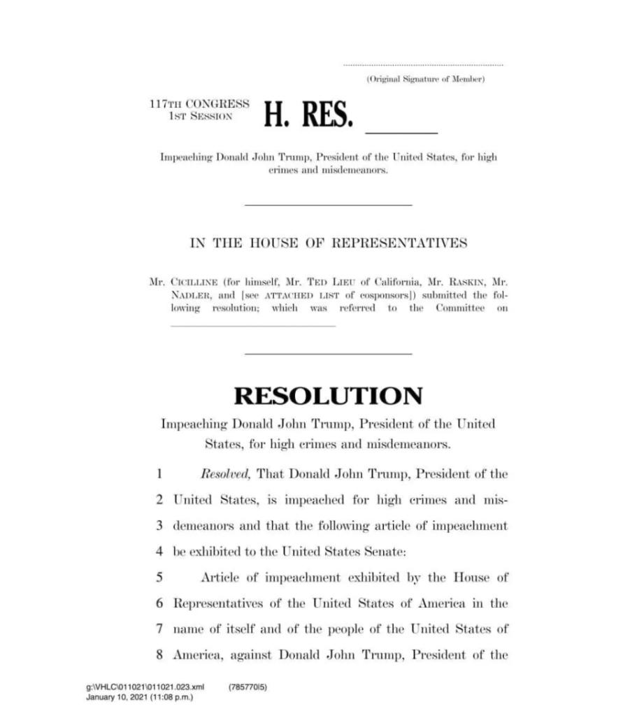 Опубліковано резолюцію щодо імпічменту Трампа – документ