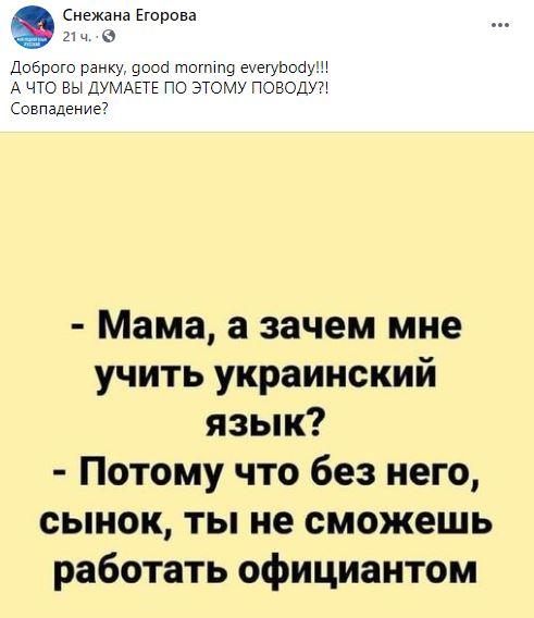«Без украинского не сможешь работать официантом»: Снежана Егорова разожгла дискуссию на тему языка