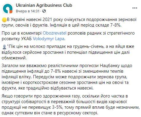Весной в Украине взлетят цены на продукты