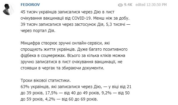 На вакцинацію проти коронавірусу записалися вже 45 тисяч українців