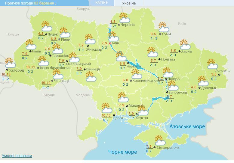 Солнечно и тепло: прогноз погоды на 3 марта в Украине