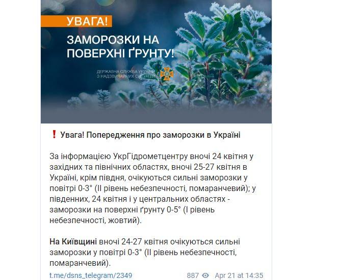 Рятувальники оголосили I-II рівні небезпеки через заморозки в Україні
