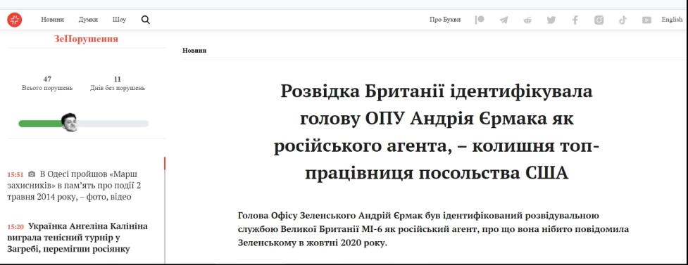 Єрмак і Зеленський зачищають українські ЗМІ від будь-якої критики. Але Google пам'ятає все