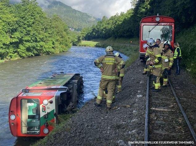 В Австрії вагон електрички з дітьми впав у річку: багато постраждалих