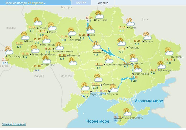 Погода в Украине: сегодня будет солнечно и тепло