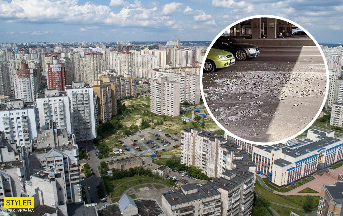 В Киеве на еще одном мосту произошло обрушение: части бетона падали под колеса авто (видео)